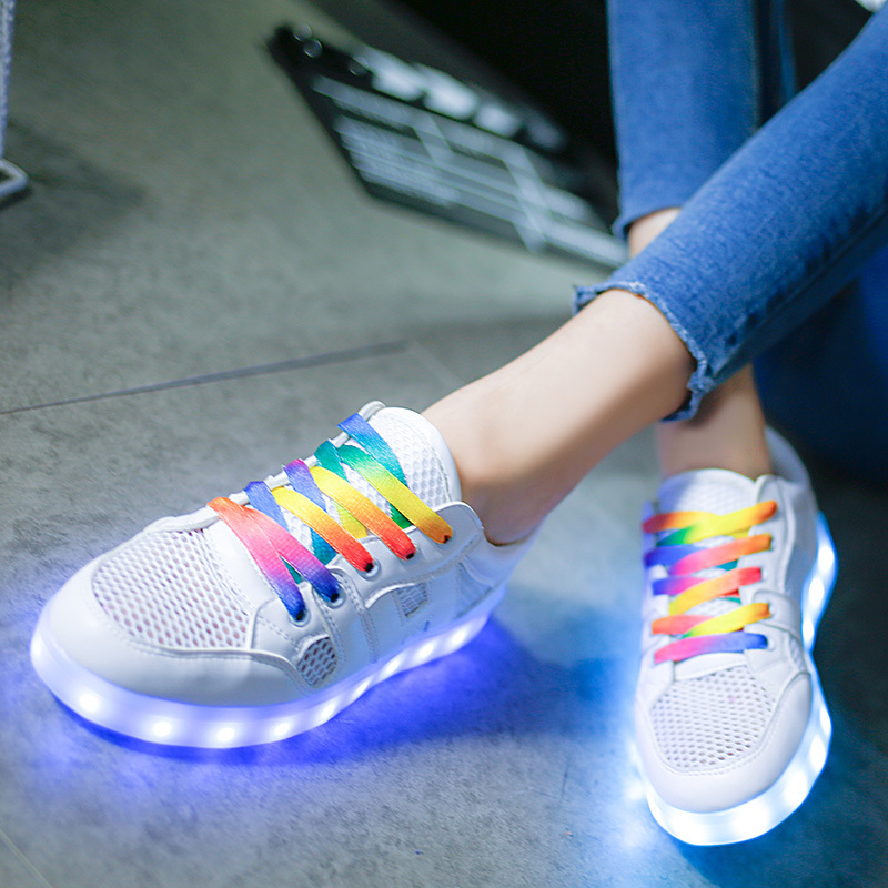 ФОТО new child adult sports shoe school girl light up USB charging shoe for girl women summer cut-out shoes led glowing sneakers