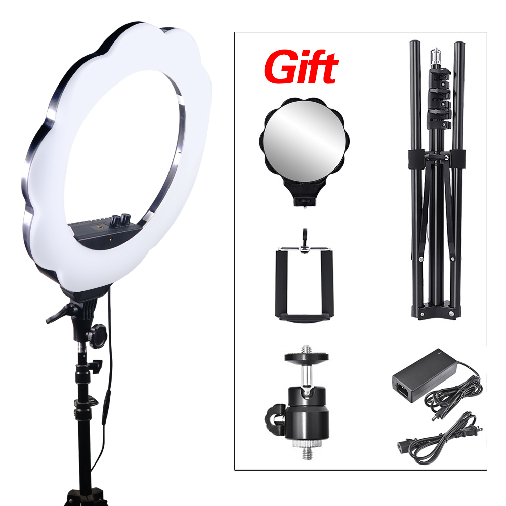 Mcoplus Photographic Lighting 384 Led Bi color 3000K 6000K Dimmable Camera Phone Photography Ring Light Lamp+Free shipping EMS