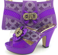 Beautiful Italian Shoes With Matching Bags New African Shoes And Matching Bag Sets For Wedding dress ME3321 Purple Color