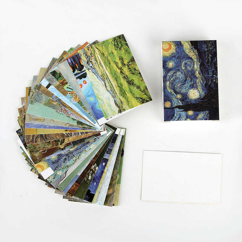28 pcs/box Van gogh painting creative lomo cards message small card Christmas birthday gift card holiday universal