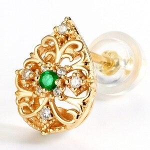 ALLNOEL женские великолепные серебряные серьги -гвоздики полые капли воды натуральный изумруд кубический циркон алмаз драгоценный камень укр...