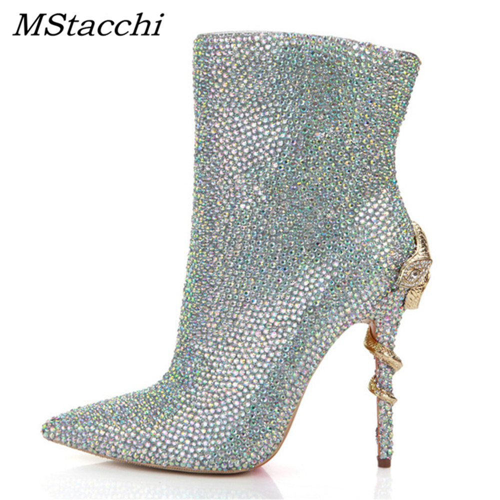 MStacchi Sweet Fashion High Quality Genuine Leather Mid-Calf Shoes Women's Winter Boots Bling Bling Wedding Dance Ankle Boots top selling 2016 luxury high quality white bling bling crystal fur inside winter snow boots top designer women mid calf boots
