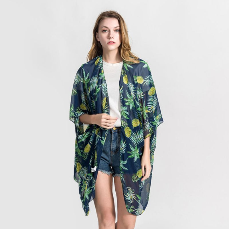 100% Quality Chiffon 3/4 Sleeves Swimsuit Cover Up Bohemian 3d Fruit Graphic Pattern Kimono Cardigan Side Split Asymmetric Loose Shawl Cape Famous For Selected Materials, Novel Designs, Delightful Colors And Exquisite Workmanship