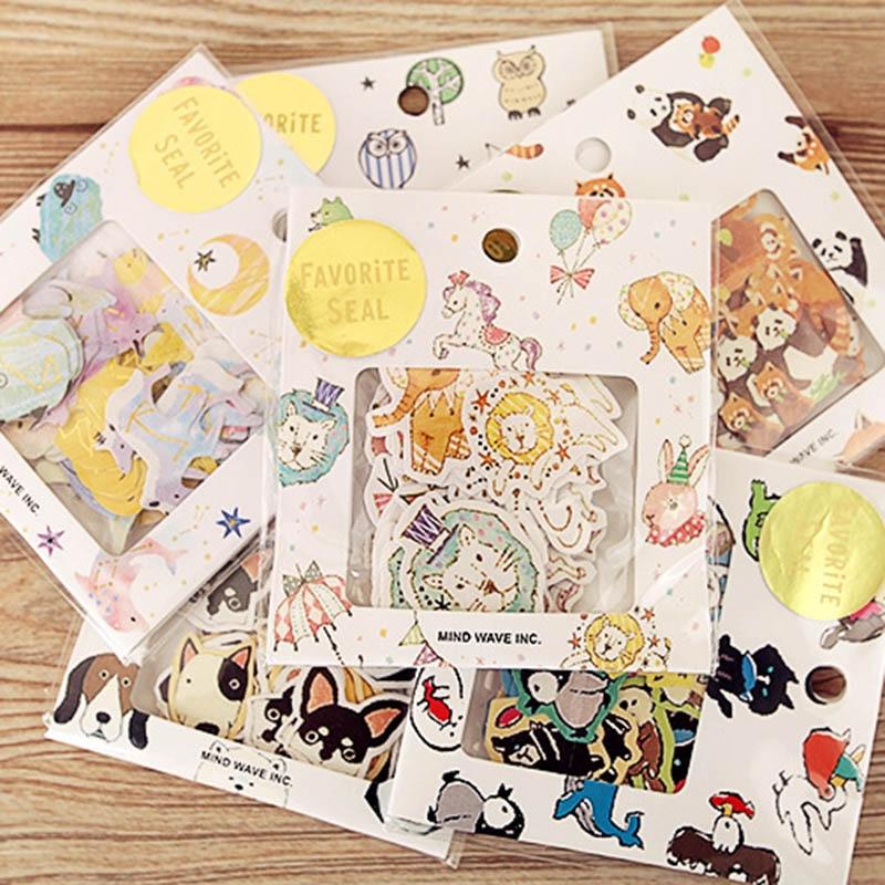 70 Pcs/lot DIY Cute Kawaii Bear Owl PVC Decoration Stickers Cartoon Dog Cat Sticky Paper For Decoration Student