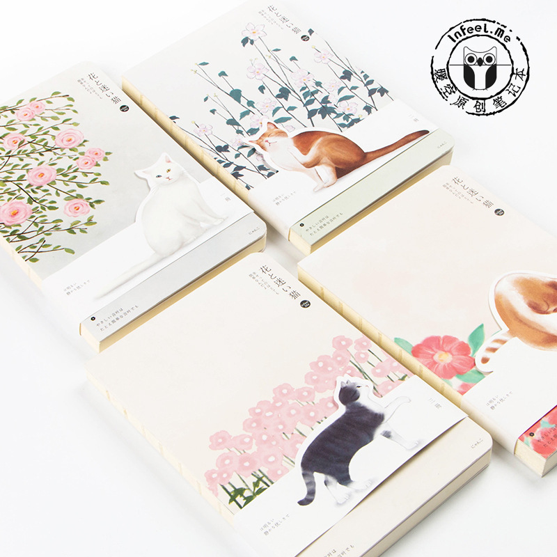 Japanese Kawaii Cute Kittens A5 Notebook 100G Paper Blank Pages Cat Note Book Travel's Notebook Sketchbook  DIY Diary Gift romantic cute flower and cat kittens japanese notebook blank pages stitching binding diy journal diary note book sketchbook