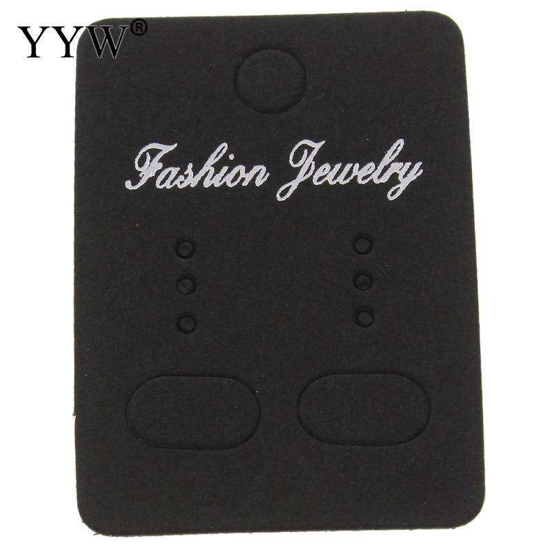200PCS 32x45mm Black Paper Cute Stud earring HangTag Card Custom Logo Cost Extra Jewelry Display Packing Card image