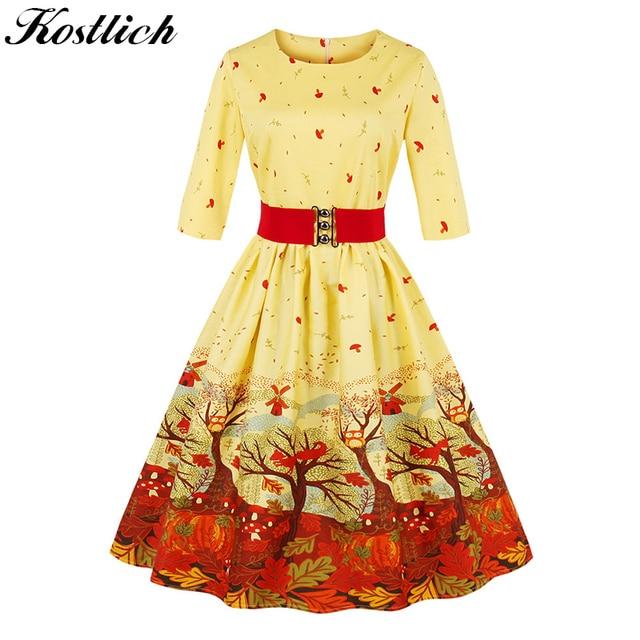 kostlich print autumn winter dress women 2018 belt tunic 50s vintage christmas dress 34 - Vintage Christmas Dress