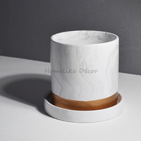 1pc Marbled Ceramic Flower Pot With Stand Modern Marbling Vase Luxury Plant Pot For Office Home