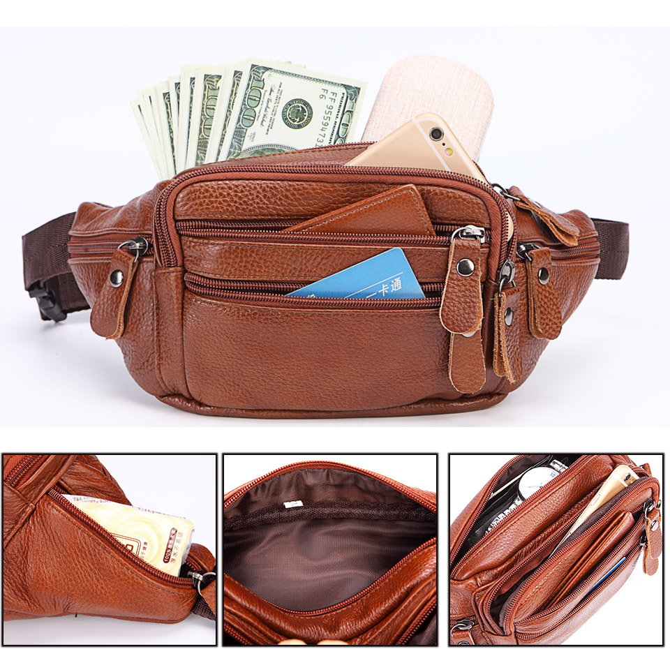 Fashion Men Genuine Leather Fanny Bag for Phone Pouch Male Leather Messenger Bags Brand Fanny Pack Male Travel Waist Bag Men