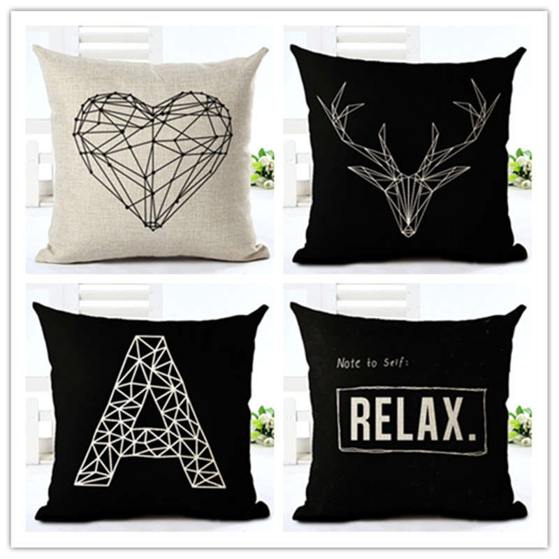 Fashion style black and white lines chair cushion decor for Cojines sofa exterior