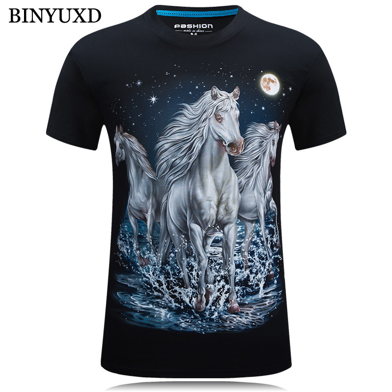 BINYUXD 3D Printed T-shirts Man Short Sleeve Cotton Brand Clothing Funny Sky Horse Plus Size 6XL Mens 2017 Summer Russia Style