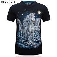 BINYUXD 3D Printed T Shirts Man Short Sleeve Cotton Brand Clothing Funny Sky Horse Plus Size