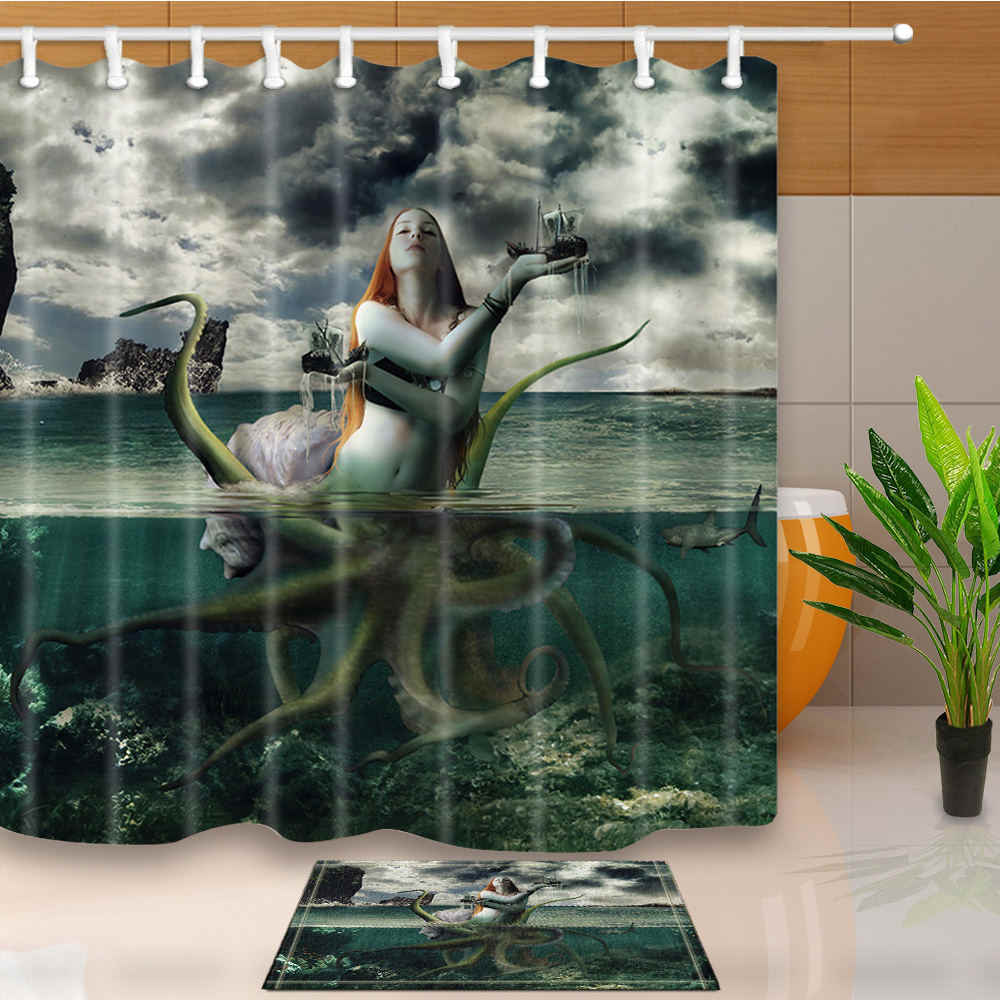 shower curtains octopus mermaid art design bathroom curtains polyester fabric waterproof and mildew proof washable with 12 hooks