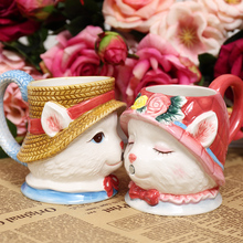 Classic Kissing Cat Hand Painted Couple cup 3D cartoon animal coffee cup Wedding gift ceramic cups
