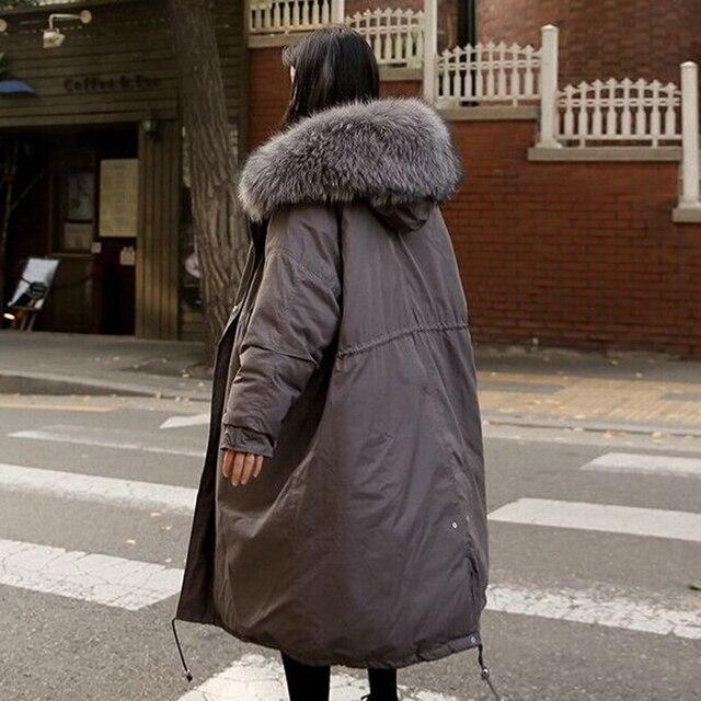 Warme Zwarte Winterjas.2019 Nieuwe Grote Bontjas Winterjas Vrouwen Dikker Warme Gewatteerde