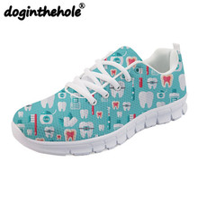 doginthehole Women Sneakers Walking Shoes Cute Teeth Dentist Printing Sport Shoes for Women Mesh Female Sneaker Breathable Flats