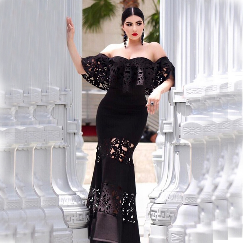 2018 Black Lace Bandage Dress Black Gown Ountfit Fashion Ruffles ...