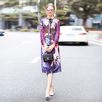 XF Fashion Runway Two-Piece Spring Summer Dress Women'S Bohemian Retro Diamond Tunic + Bag Hip Skirts Head Printing 2 Sets 1