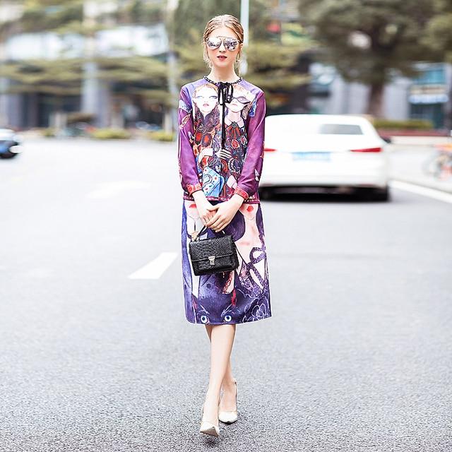 XF Fashion Runway Two-Piece Spring Summer Dress Women'S Bohemian Retro Diamond Tunic + Bag Hip Skirts Head Printing 2 Sets 1
