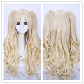 Lolita Blonde Beige Wave Long Double Chip Ponytails On Hair Synthetic Cosplay Costume Wig.Free Shipping