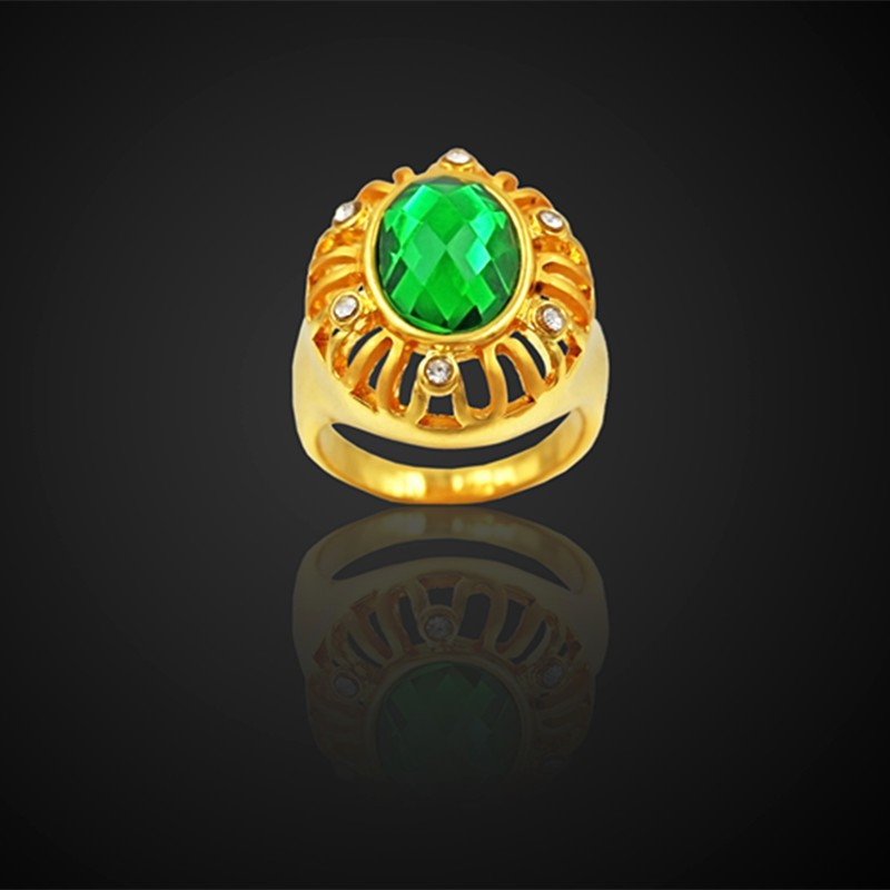 Antique Round Crystal Green Rings For Woman Gold Color Wedding Engagement Jewelry Ring Female Gift 2018