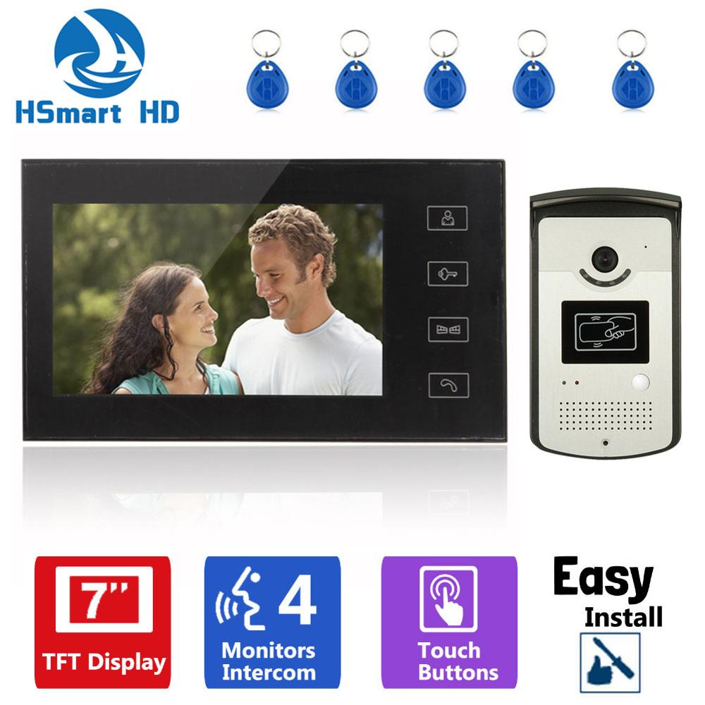 Home 7inch TFT Monitor Color RFID Access Video DoorPhone Doorbell Intercom System HD 800TVL IR Night Vision Waterproof Camera 7 inch video doorbell tft lcd hd screen wired video doorphone for villa one monitor with one metal outdoor unit rfid card panel