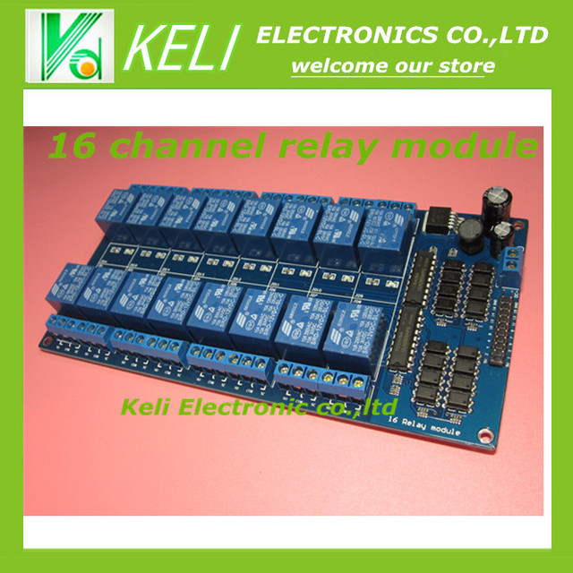 Frete Grátis 12 V 16 Canal Módulo de Relé Interface Board Para PIC ARM DSP PLC Com Proteção Optoacoplador LM2576 rduino poder
