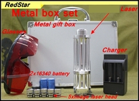 [RedStar]RedStar YX 017 High laser pointer laser pen burn match solder metal box set include 2x16340 battery & charger 5 caps