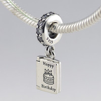 BIRTHDAY WISHES 925 Sterling Silver Charms Fits Pandora Charms Original Bracelet DIY Beads Fine Findings Sterling