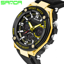 SANDA 2017 New Dual Display Watches Digital Watches Men Sport Watches Silicone Band Waterproof Relogios Masculinos