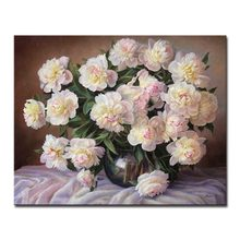 Popular chinese white flower oil buy cheap chinese white flower oil oil painting by numbers diy drawing coloring white chinese rose flower pictures handpainted on canvas wall art home decor framed mightylinksfo