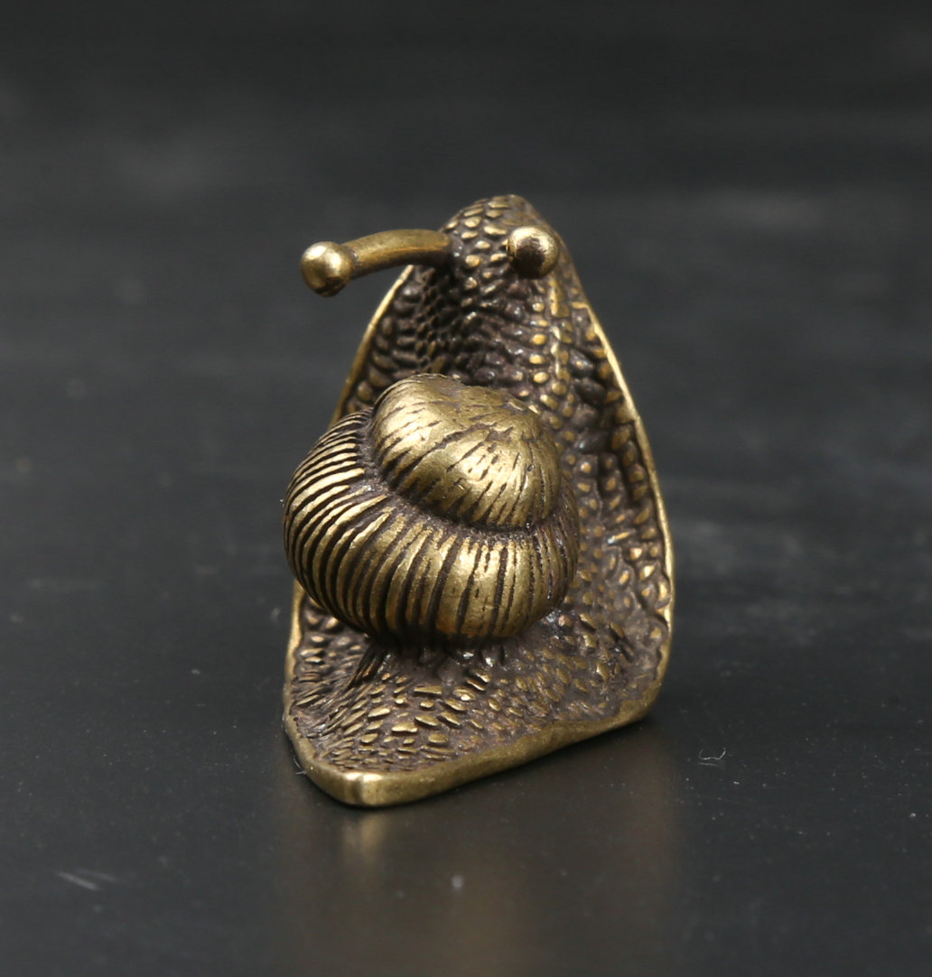 40MM 1 6 quot Collection Curio Rare Chinese Fengshui Small Bronze Exquisite Lovely Animal Snail Statue Statuary 38g in Statues amp Sculptures from Home amp Garden
