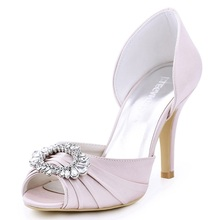 Woman Light Pink High Heel Shoes Bridesmaids Peep Toe Rhinestones Bride  Satin Prom Evening Bridal Wedding 9ea1c9700877