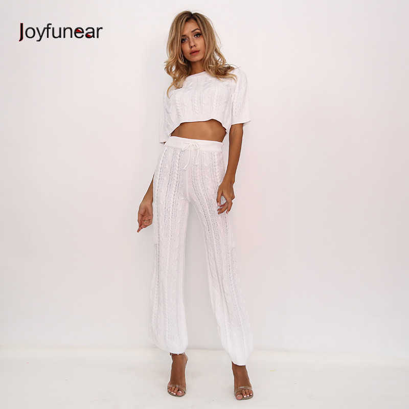 3040c9223c9af8 Joyfunear Knitted Pullover Sexy Two Piece Set Sweater Long Sleeve Tracksuit  For Women Drawstring Crop 2