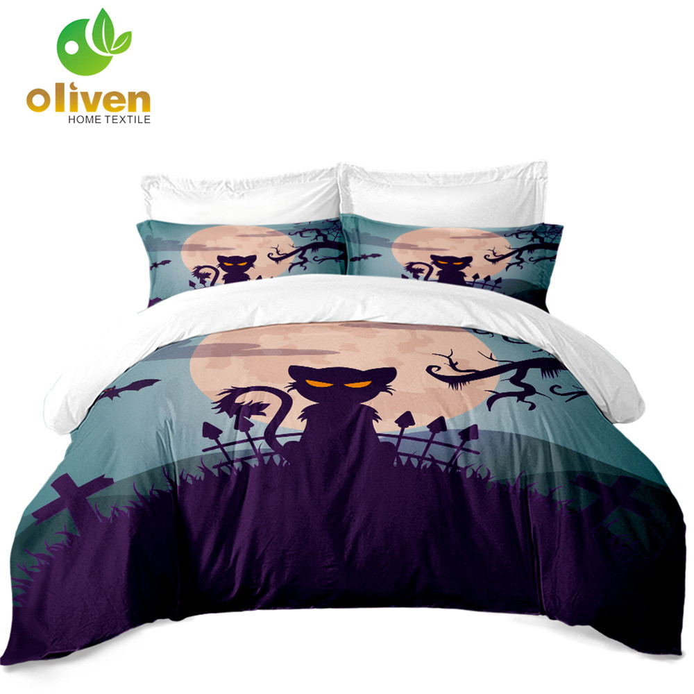 Halloween Purple Cat Bedding Set Horrible Moon Night Duvet Cover Cartoon Bedclothes King Queen Bed Pillowcase 3Pcs D40