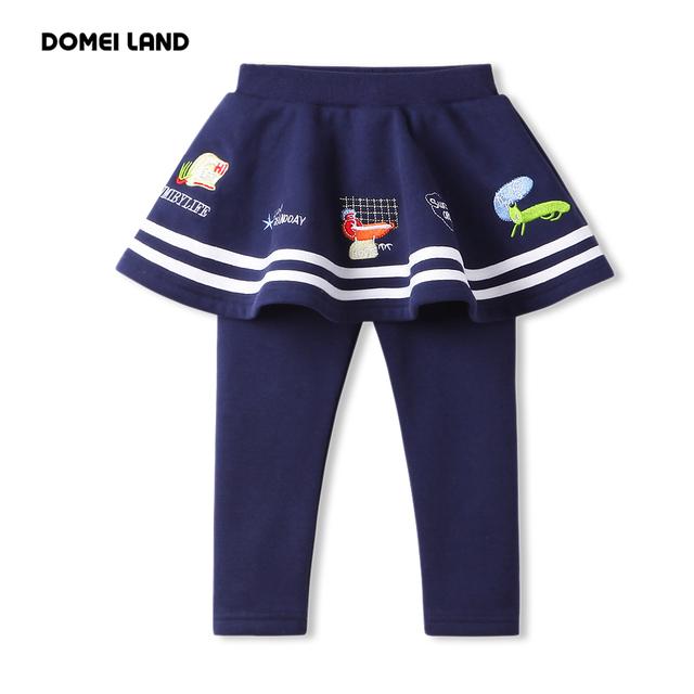 2016 nueva Primavera de la marca Ropa de Los Niños para la muchacha Linda navy ruffles Faldas vestido de Bola kids Tutu Falda de algodón de impresión legging