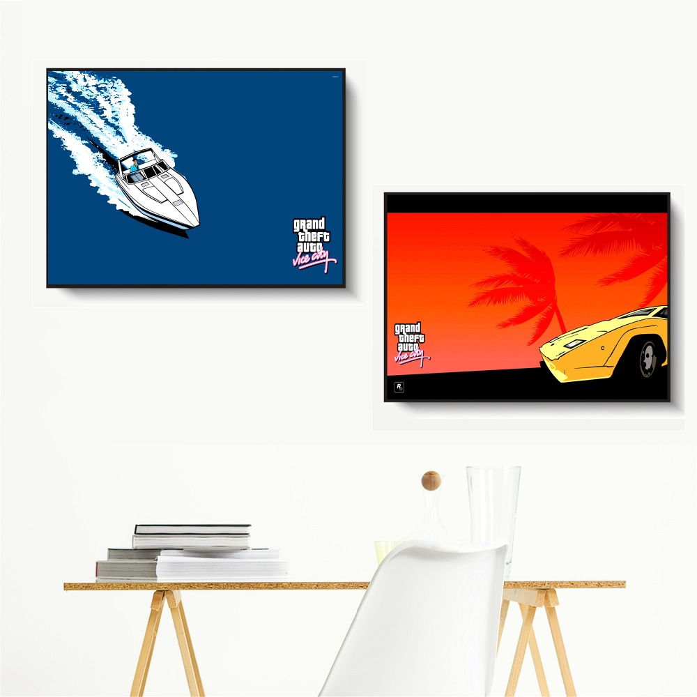 GTA Vice City Sunset Landscape Wall Pictures Posters Prints Canvas Art Unframed Paintings Decoration Modern Home Decor Cuadro in Painting Calligraphy from Home Garden