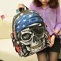 New Style Personalized Bags School Backpack Feminina Skeleton Package Street Punk Bag Rock Pirate Skull Backpacks BS88