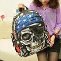 Novo Estilo Personalizado Saco de Escola Sacos Mochila Feminina Pacote Esqueleto Rua Do Punk Rock Crânio Do Pirata Mochilas BS88