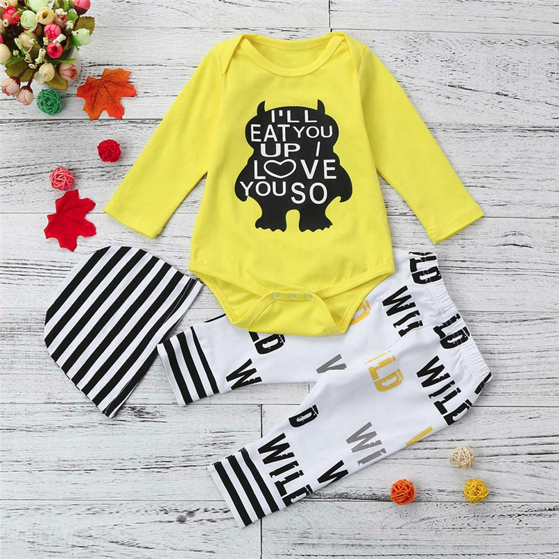 2018 Winter 3PCS Kids Clothes Boys Newborn Infant Baby Boys Girls Letter Printed Long Sleeve Tops+Pants+Hat Set Clothes JY10#F