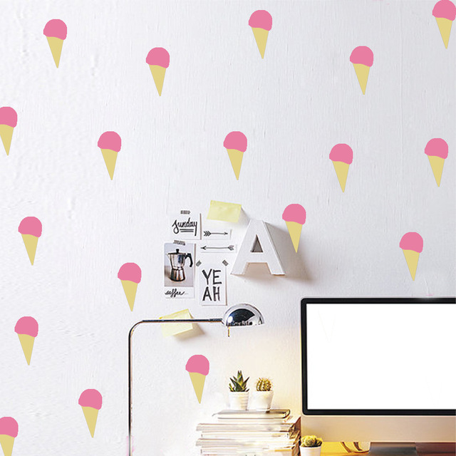 Wall sticker baby pink yellow ice cream wall decal diy decorating easy wall stickers kids room