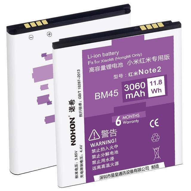100% originales nohon batería 3060 mah de alta capacidad de bm45 para xiaomi redmi hongmi note2 red rice note 2 baterías de repuesto