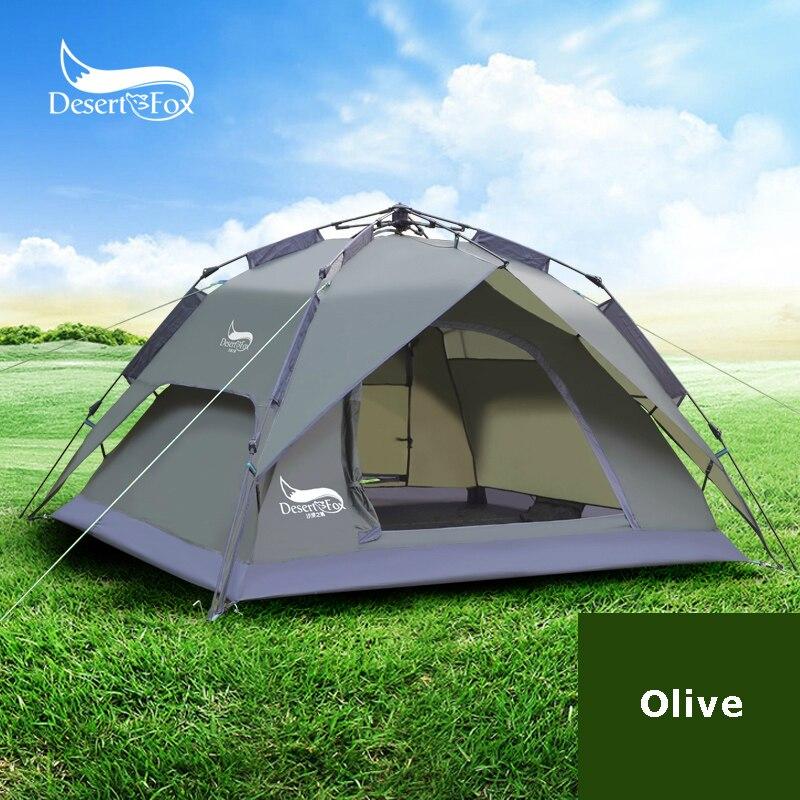 Tente de Camping automatique Desert & Fox pour 3-4 personnes, installation instantanée facile sac à dos portable pour abri solaire, voyage, randonnée