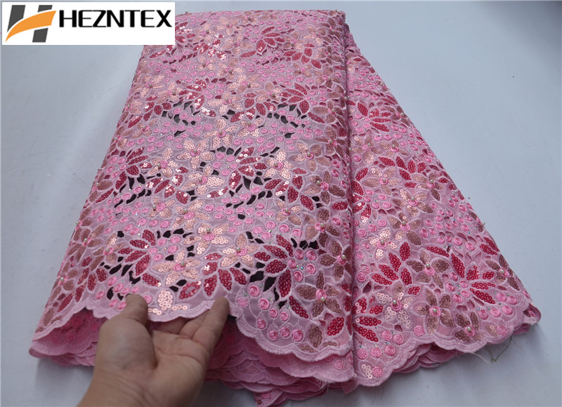 Latest pink french sequins tulle lace fabric embroidered high quality nigerian organza lace fabric for luxury