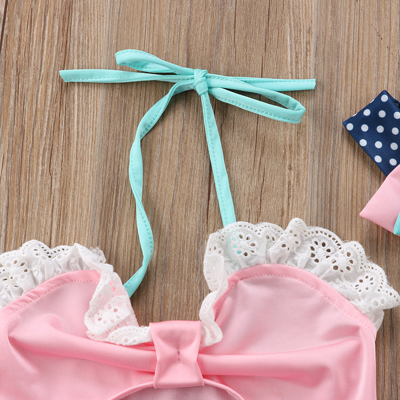 3PCS Swimwear Kids Baby Girl Bikini Lace Swimming Top Polka Dots High Waist Swimwear Infant Summer Swimsuit Bathing Costume