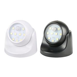Image 1 - 9 LED אלחוטי חיישן תנועת לילה אור 360 תואר סיבוב לילה אור לילה מנורת קיר אור מנורת סוללה כוח אוטומטי על Off
