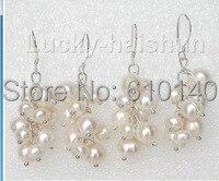 j00195 wholesale Baroque Dangle 2piece grape white pearls Earrings