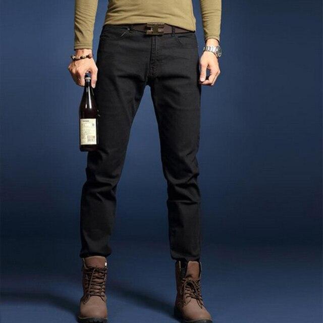 2016 Новая мода упругие черный цвет тонкий прямой случайные бренда джинсы мужчин горячая продажа джинсовая хлопок мужские джинсы