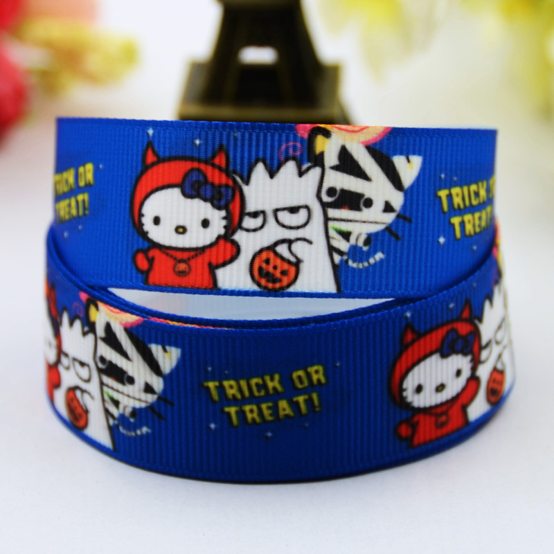 Halloween Hello Kitty Cartoon Character Printed Grosgrain Ribbon Party Decoration Satin Ribbons X-00487 10 Yards Promoting Health And Curing Diseases Supply 7/8 22mm