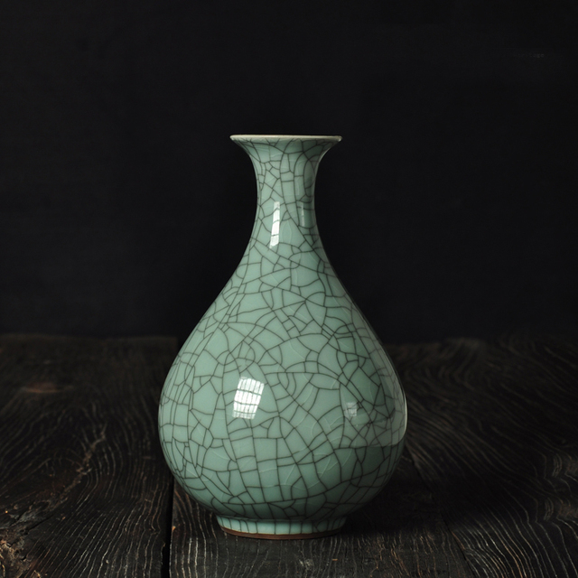 Chinese Style Longquan Celadon Vase Ice Crack Retro Home Accessories
